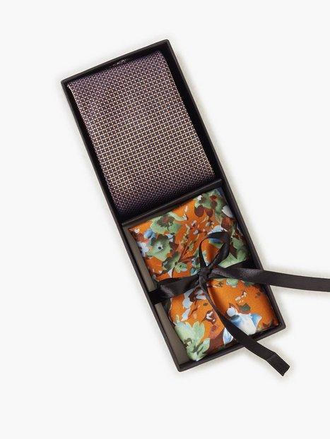 Amanda Christensen Tie Pocket Square Slips Orange mænd køb billigt
