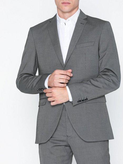 Selected Homme Slhslim Mylologan Dk Gr Struc Blz B Blazere jakkesæt Mørkegrå - herre