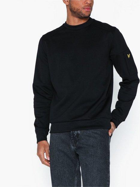 Lyle Scott Sleeve Pocket Crew Neck Sweatshirt Trøjer True Black mand køb billigt