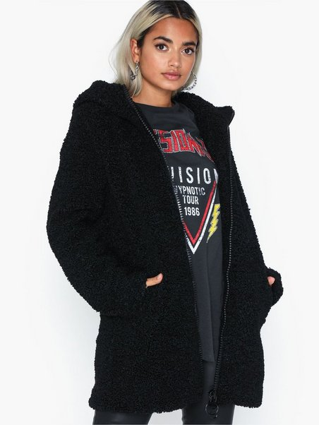 Only Onlterry Curly Fur Hood Coat Otw Giubbotto Donna