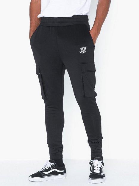 SikSilk Poly Athlete Cargo Pants Bukser Black mand køb billigt