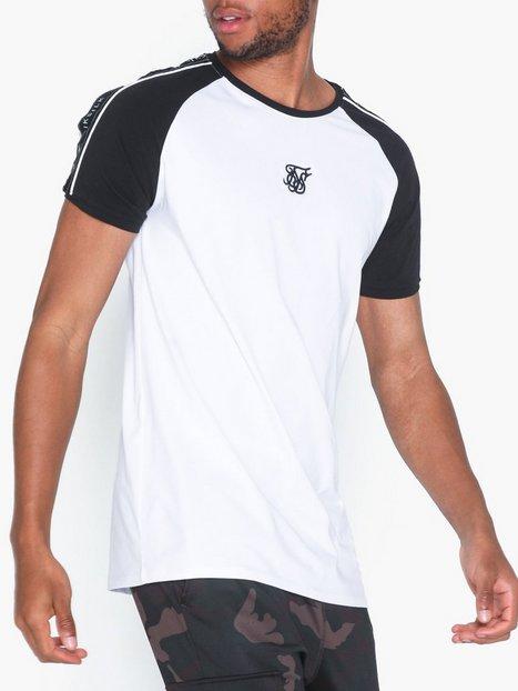 SikSilk Raglan Straight Hem Tape Gym Tee T shirts undertrøjer Black White mand køb billigt