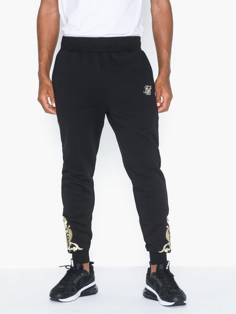 SikSilk Fitted Joggers Bukser Jet Black - herre