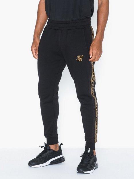 SikSilk Muscle Fit Nylon Panel Joggers Bukser Black Gold - herre