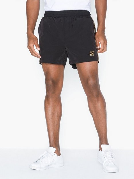 SikSilk Crushed Nylon Taped Shorts Shorts Black/Gold