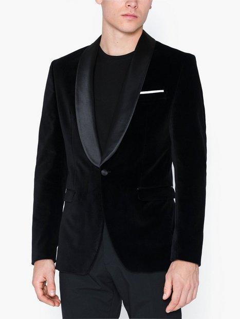 Selected Homme Slhslim Hickvelvet Black Blz B Blazere jakkesæt Sort - herre