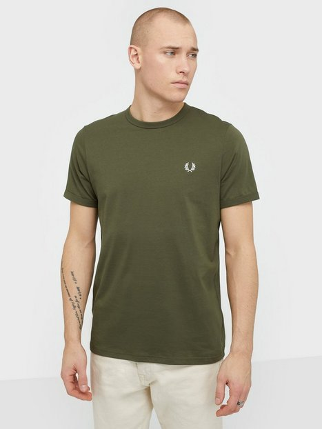 Fred Perry Ringer T Shirt T shirts undertrøjer Military Green - herre