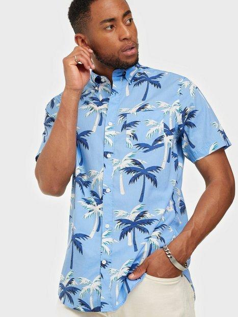 Gant D1. Bc Palm Print Reg Bd Ss Skjorter Blue Bell