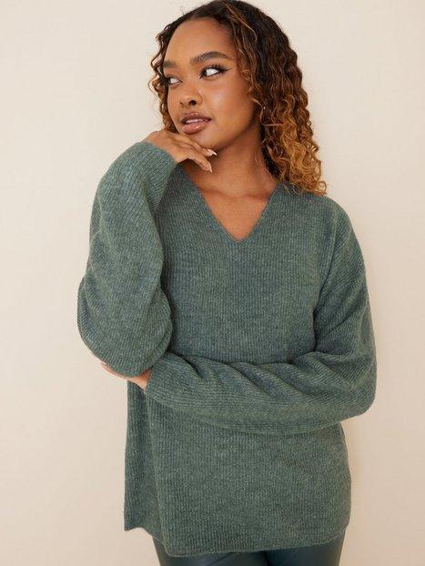 Vero Moda Vmcrewlefile Ls V-Neck Blouse Noos Strikkede trøjer Balsam Green Melange