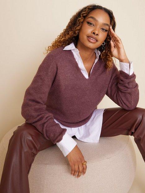 Vero Moda Vmcrewlefile Ls V-Neck Blouse Noos Strikkede trøjer Rose Brown Melange