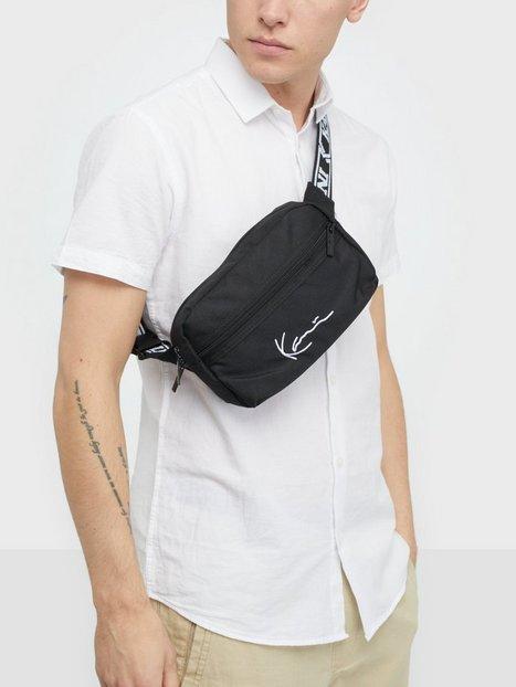 Karl Kani KK Signature Tape Hip Bag Tasker Sort Hvid mænd køb billigt