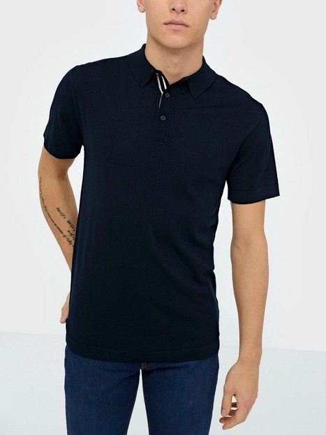 Tailored Originals Knit Mont Polo SS Polotrøjer Insignia Blue - herre