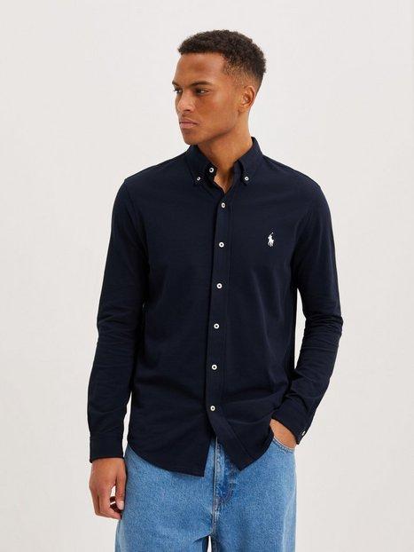 Polo Ralph Lauren Featherweight Long Sleeve Knit Skjorter Navy Blue mand køb billigt