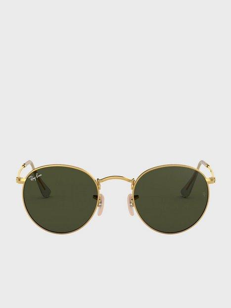Ray Ban Round Metal 0RB3447 Solbriller Gold Black mænd køb billigt