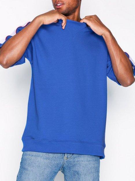 Topman Cobalt Blue Panel Short Sleeve Sweatshirt T shirts undertrøjer Blue mand køb billigt