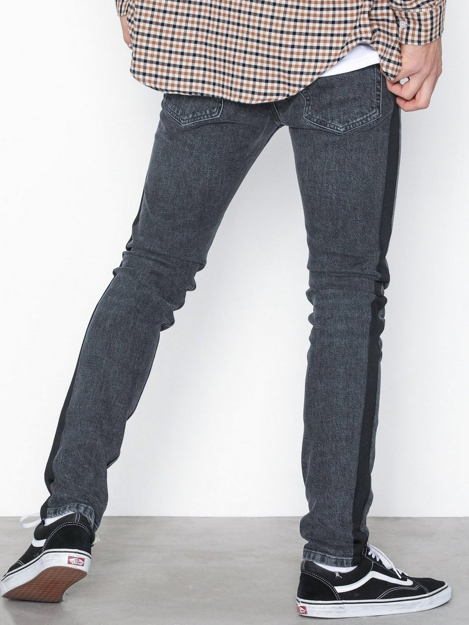 Washed Black Side Taping Stretch Skinny Jeans