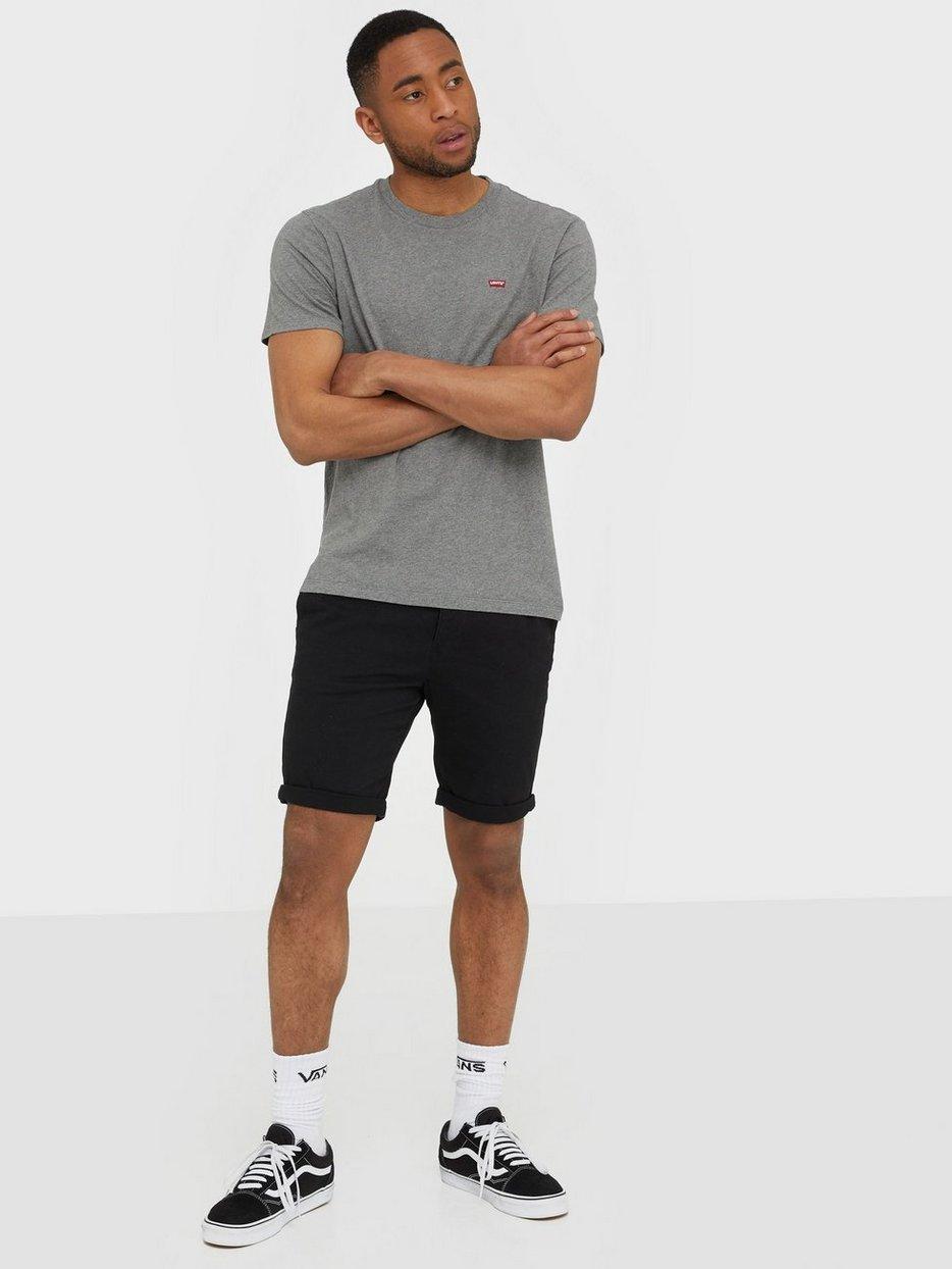 Black Stretch Skinny Fit Chino Shorts
