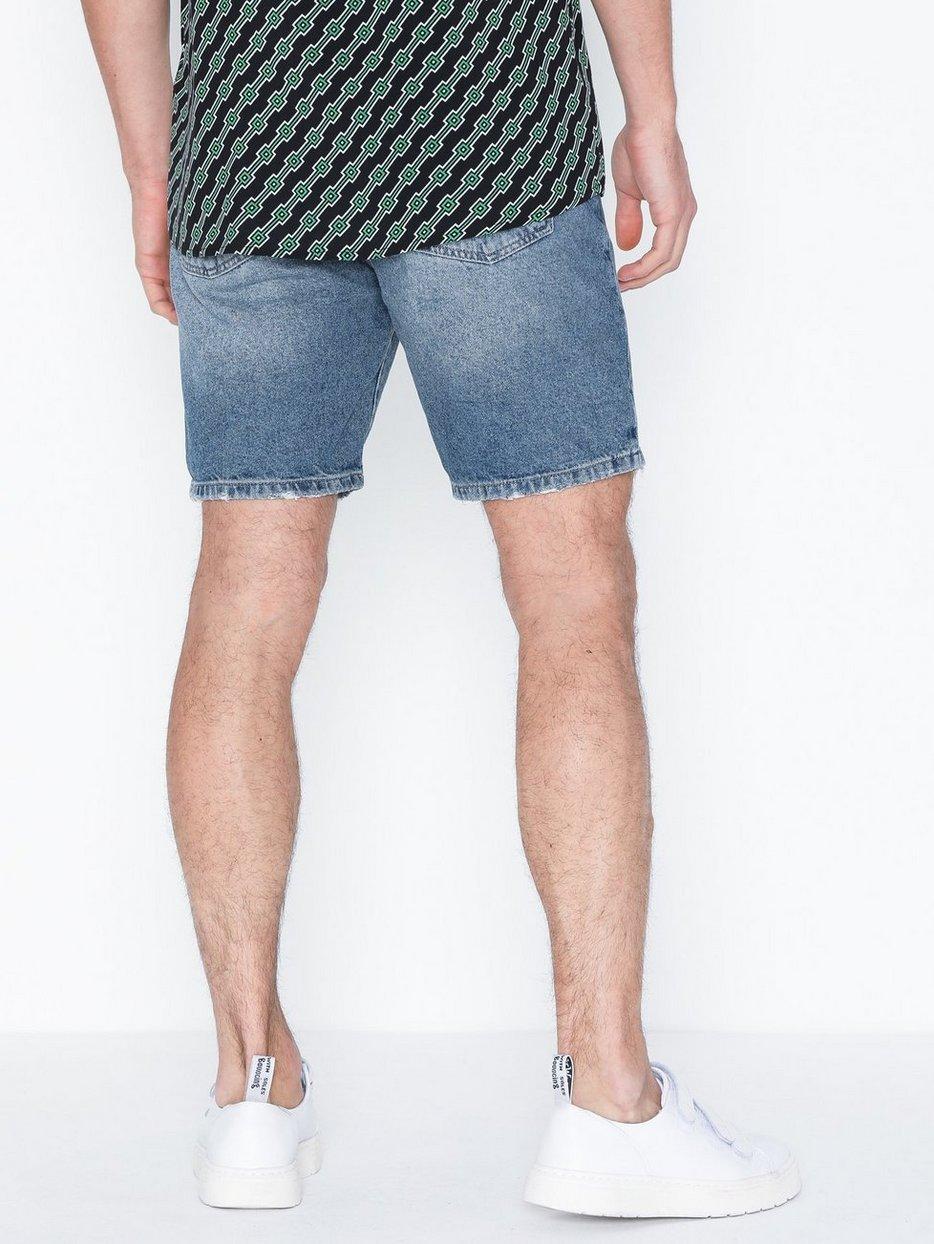 Mid Wash Slim Fit Shorts