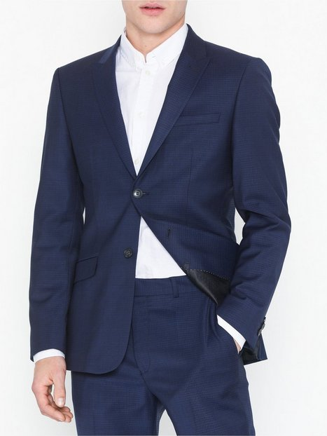 Topman Premium Navy Slim Check Blazer Blazere jakkesæt Navy Blue - herre