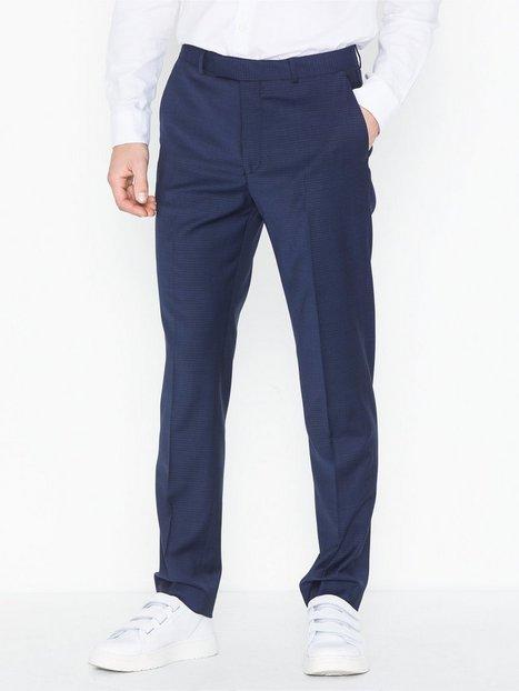 Topman Premium Navy Slim Check Trousers Bukser Navy Blue mand køb billigt