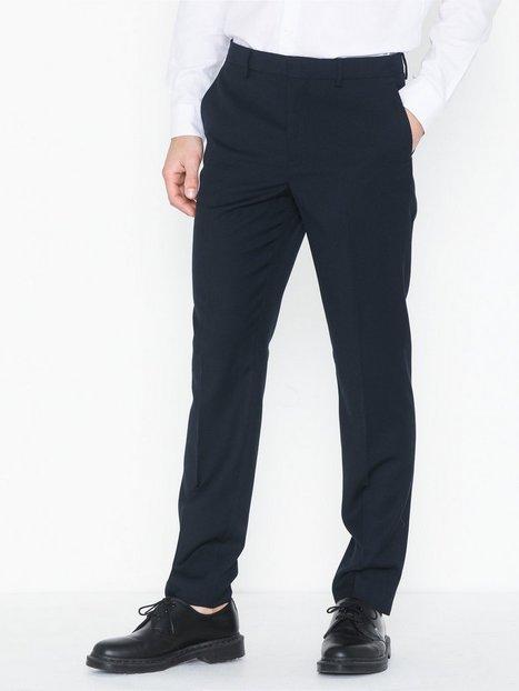 Topman Navy Textured Slim Fit Suit Trousers Bukser Dark Blue - herre