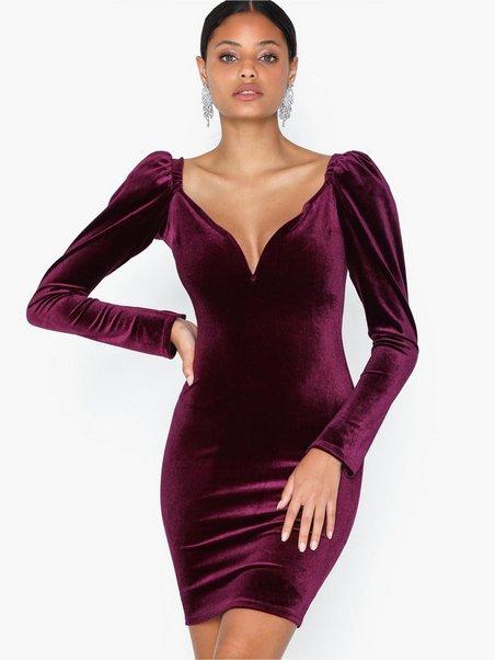 Volume Sleeve Velvet Dress