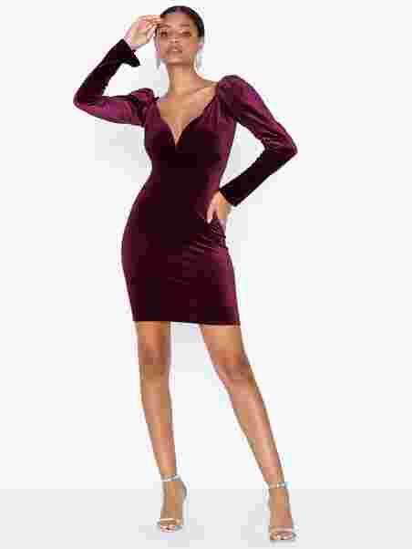 Shoppa NLY One Volume Sleeve Velvet Dress Vinrød