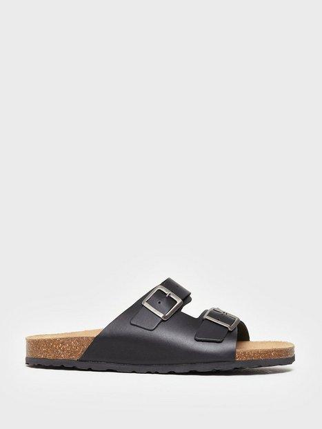 Bianco BIACEDAAR Leather Sandal Sandaler klip klappere Sort mand køb billigt