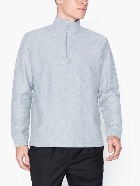 Topman Grey Twill 1 4 Zip Sweatshirt Trøjer Grey - herre