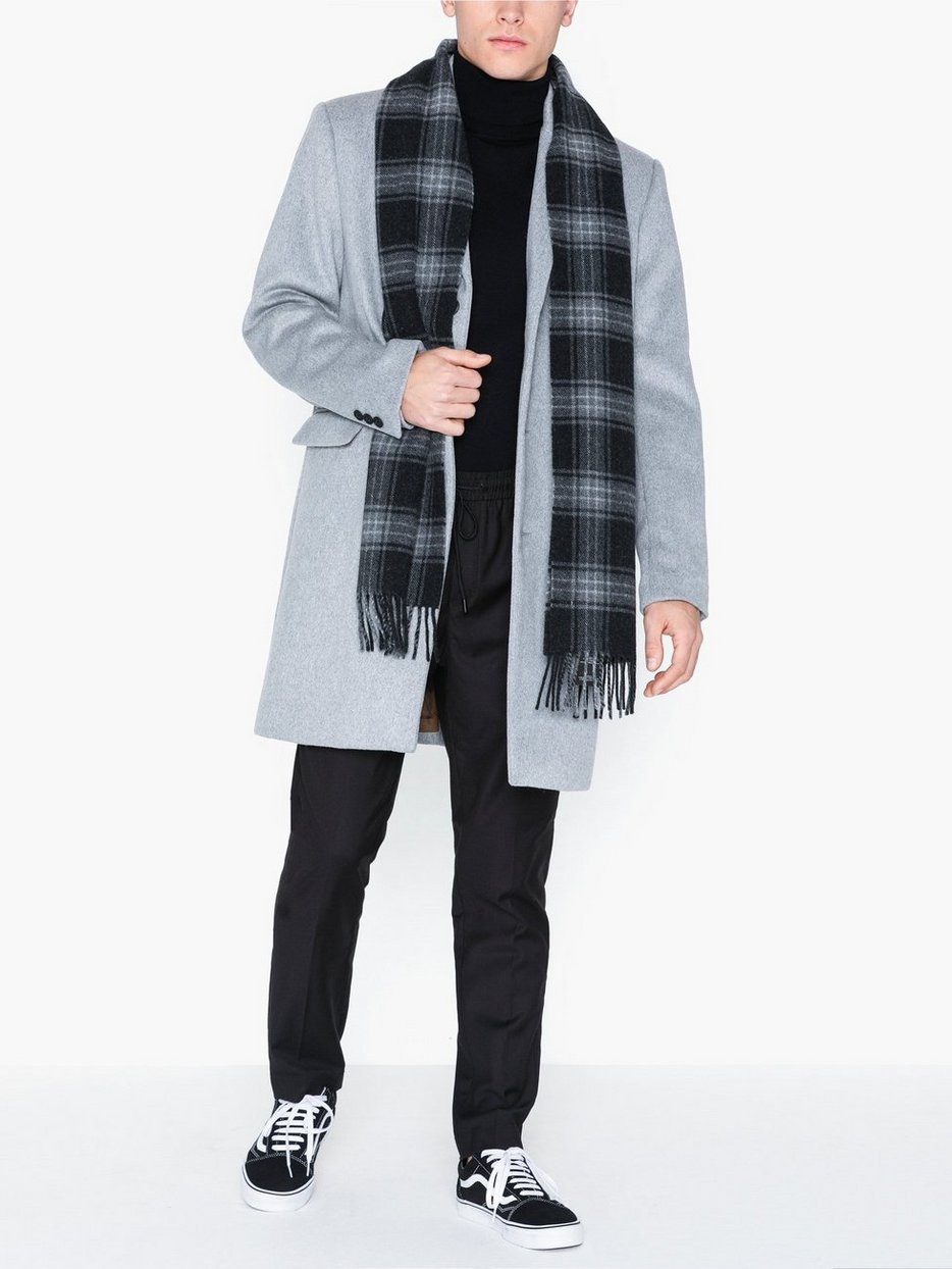 Grey Single Breasted Overcoat