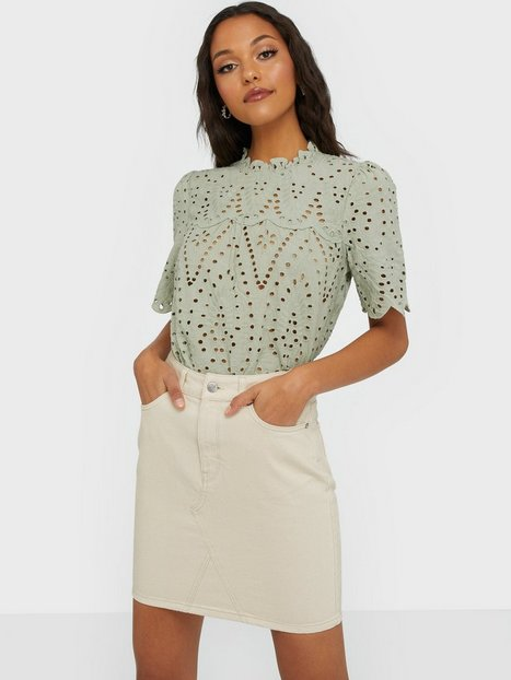 Selected Femme Slfhelena Mw Jade White Denim Skirt