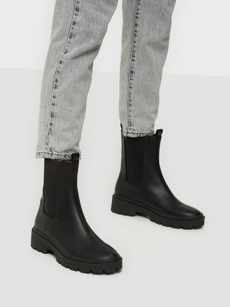 NLY Shoes High Ankle Chelsea Boot Flat Boots Sort