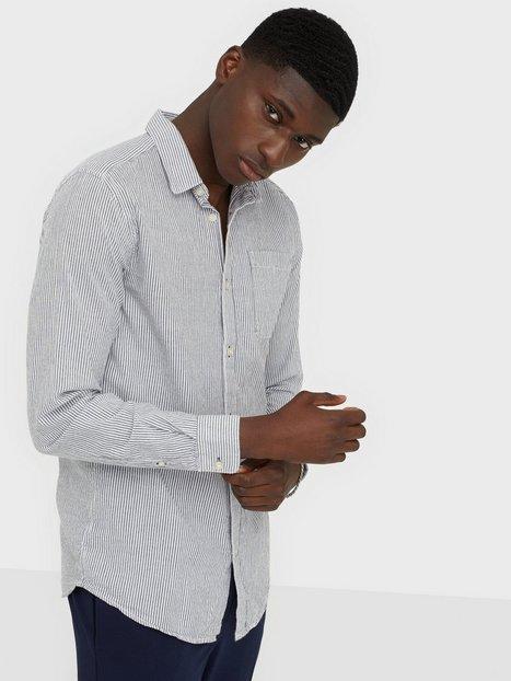 Only Sons Onsdavid Ls Stripe Seersucker Shirt Skjorter Mørkeblå mand køb billigt