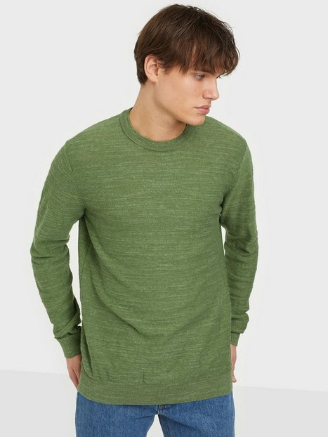 Selected Homme Slhbuddy Crew Neck W Noos Trøjer Vineyard Green Uneven Budding Yarn