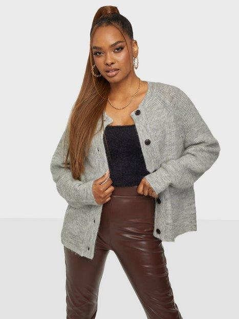Selected Femme Slflulu Ls Knit Short Cardigan Noos Strikkede trøjer Light Grey Melange
