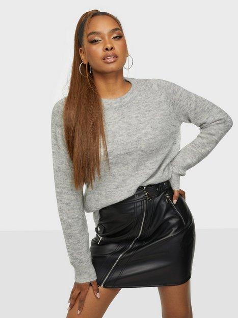 Selected Femme Slflulu Ls Knit O-Neck B Noos Strikkede trøjer Light Grey Melange