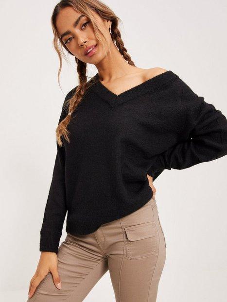 Selected Femme Slflulu Ls Knit V-Neck Noos Strikkede trøjer Black