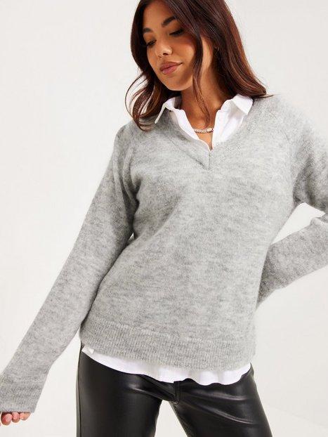 Selected Femme Slflulu Ls Knit V-Neck Noos Strikkede trøjer Light Grey Melange