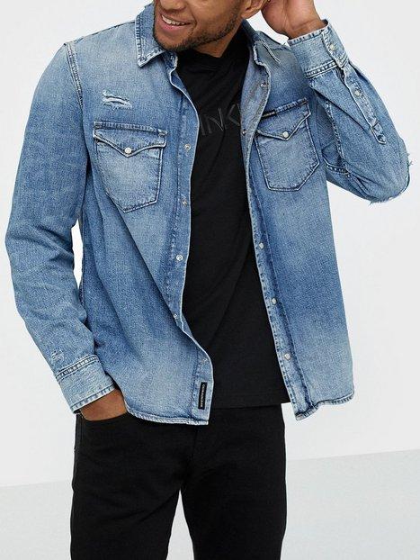 Calvin Klein Jeans Modern Western Shirt Skjorter Denim mand køb billigt