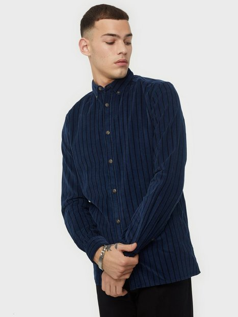 Only & Sons Onsedward Ls Striped Corduroy Shirt Skjorter Dress Blues
