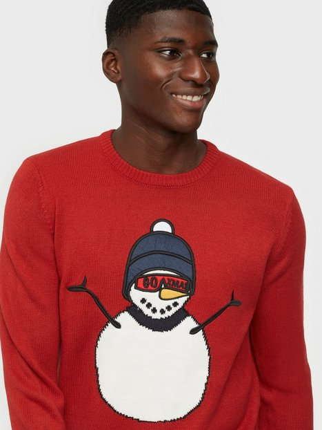 Only & Sons Onsxmas 7 Funny Front Badge Knit Trøjer Pompeian Red
