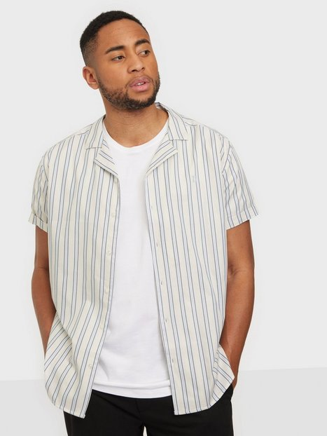 Les Deux Simon Stripe ss Poplin Shirt Skjorter Offwhite