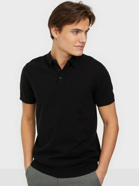 Selected Homme Slhberg Ss Polo Neck B Noos Polotrøjer Black
