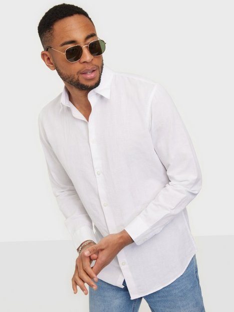 Selected Homme Slhslimnew-Linen Shirt Ls W Noos Skjorter White