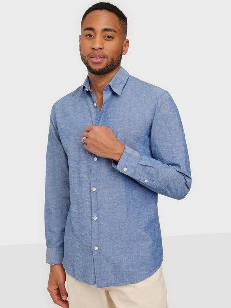 Selected Homme Slhslimnew-Linen Shirt Ls W Noos Skjorter Medium Blue Denim