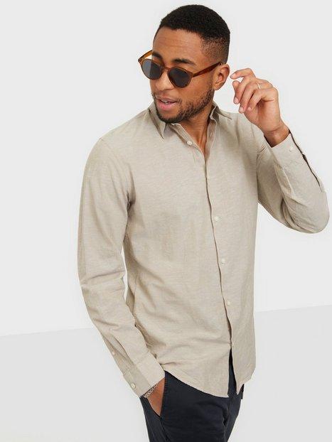 Selected Homme Slhslimnew-Linen Shirt Ls W Noos Skjorter Crockery