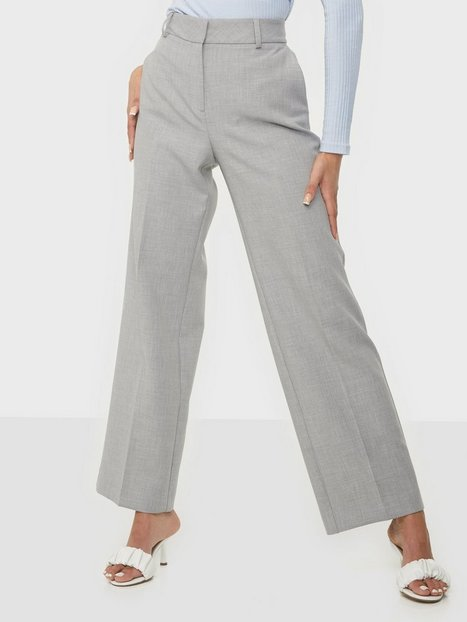 Selected Femme Slfrita Mw Wide Pant Lgm B Noos Bukser Light Grey Melange