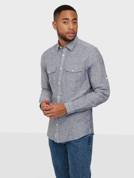Only & Sons Onscaiden Ls Pocket Linen Shirt Skjorter Dress Blues