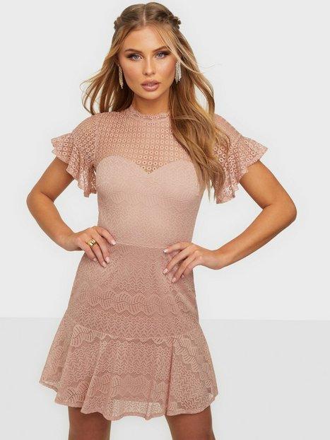 NLY Trend Flounce Lace Dress Skater kjoler Dusty Pink