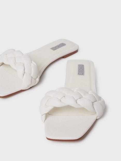 NLY Shoes Braided Flat Sandaler Hvid